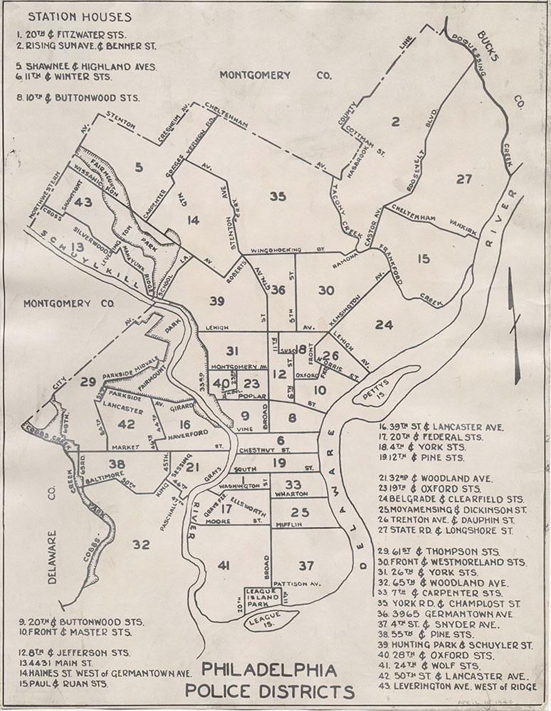 Philadelphia Police Districts & Station Houses, 1940, Map