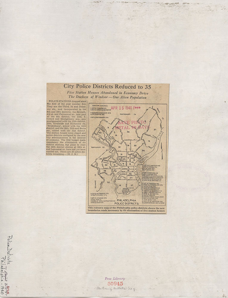 Philadelphia Police Districts & Station Houses, 1940, Map/Text