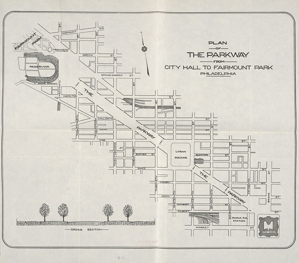 Plan of The Parkway From City Hall to Fairmount Park, Philadelphia, c.1910, Map