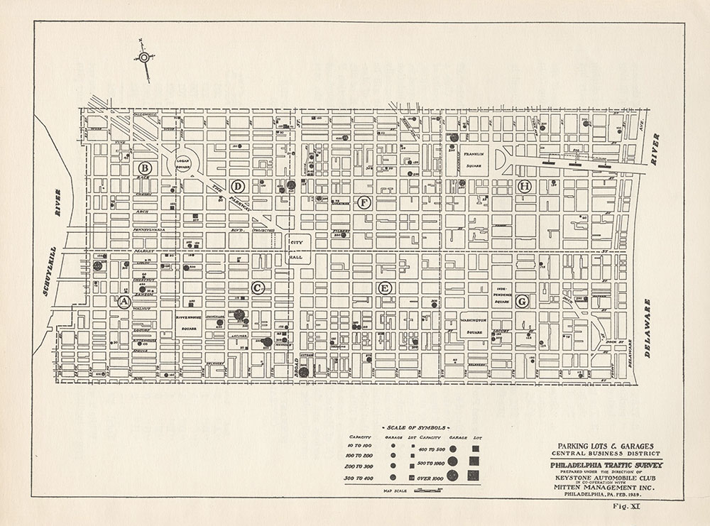 Parking Lots & Garages, Central Business District, 1929, Map
