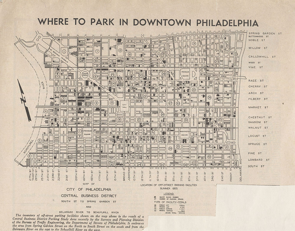 [Parking Lots and Garages in Downtown Philadelphia], 1955, Map