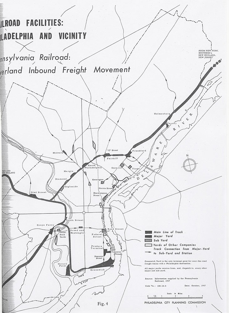 Railroad Facilities: Philadelphia & Vicinity-Pennsylvania Railroad Overland Inbound Freight Movement, October 1957, Map