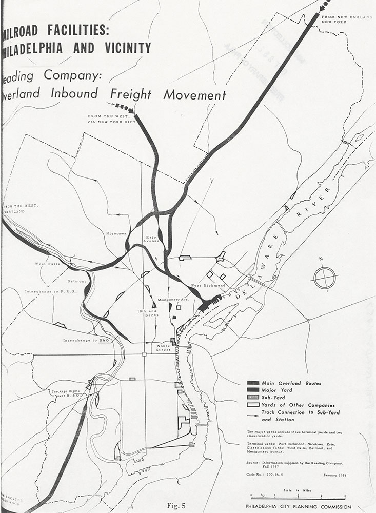 Railroad Facilities: Philadelphia & Vicinity-Reading Company Overland Inbound Freight Movement, January 1958, Map