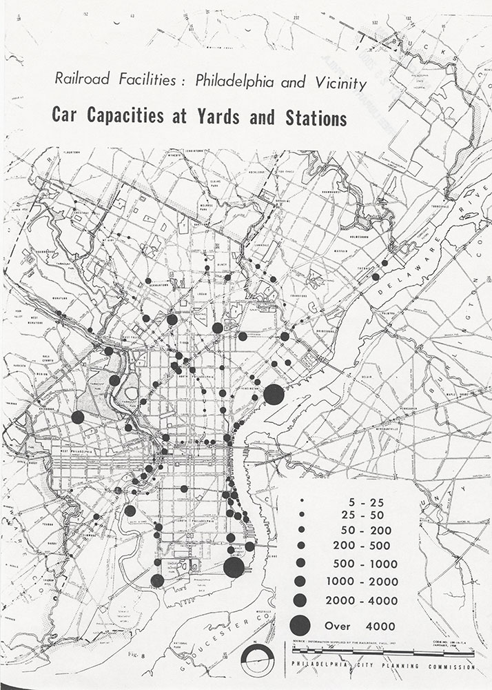 Railroad Facilities: Philadelphia & Vicinity-Car Capacities at Yards and Stations, January 1958, Map