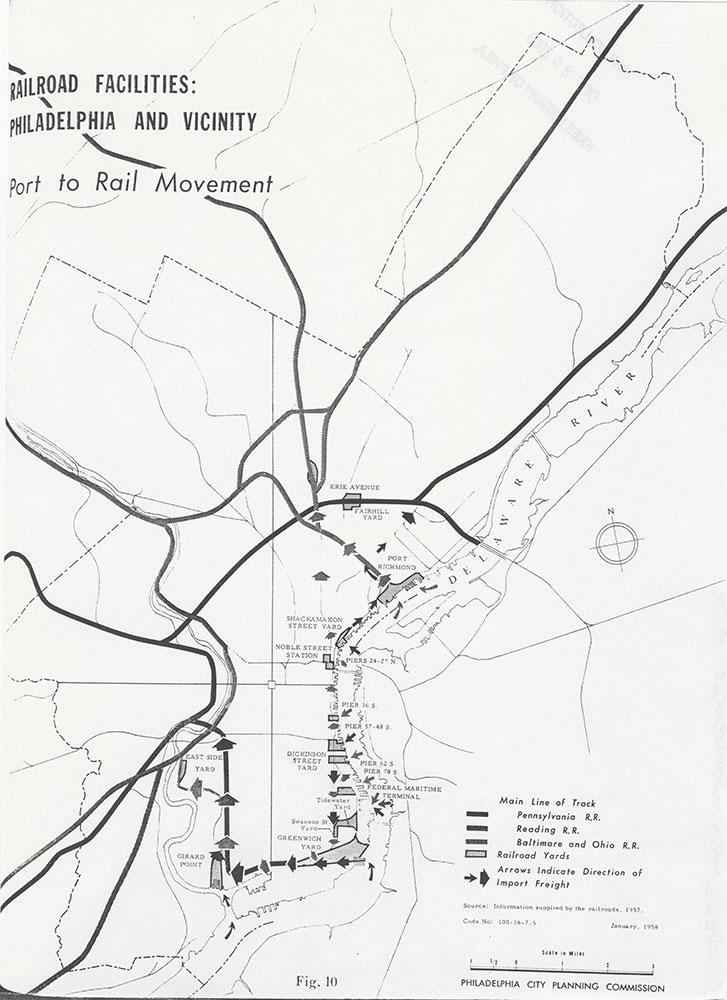 Railroad Facilities: Philadelphia & Vicinity-Port to Rail Movement, January 1958, Map