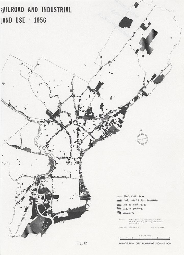 Railroad Facilities: Philadelphia & Vicinity-Railroad and Industrial Land Use-1956, February 1957, Map