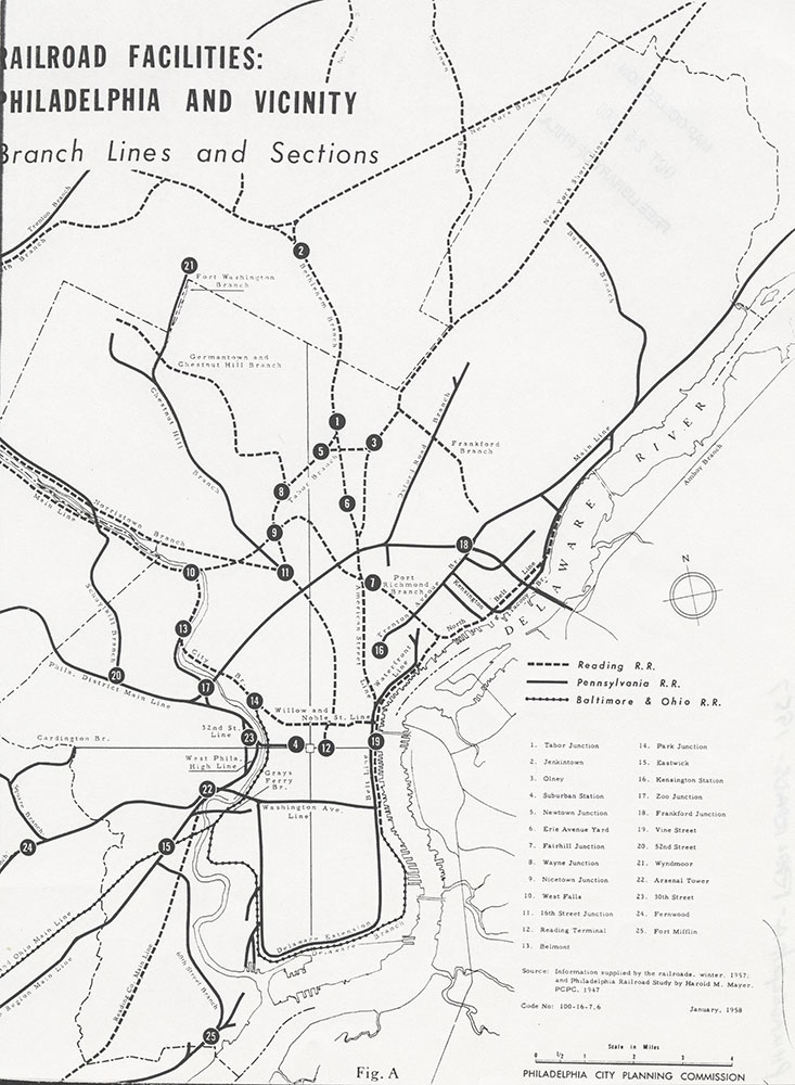 Railroad Facilities: Philadelphia & Vicinity-Branch Lines and Sections, January 1958, Map