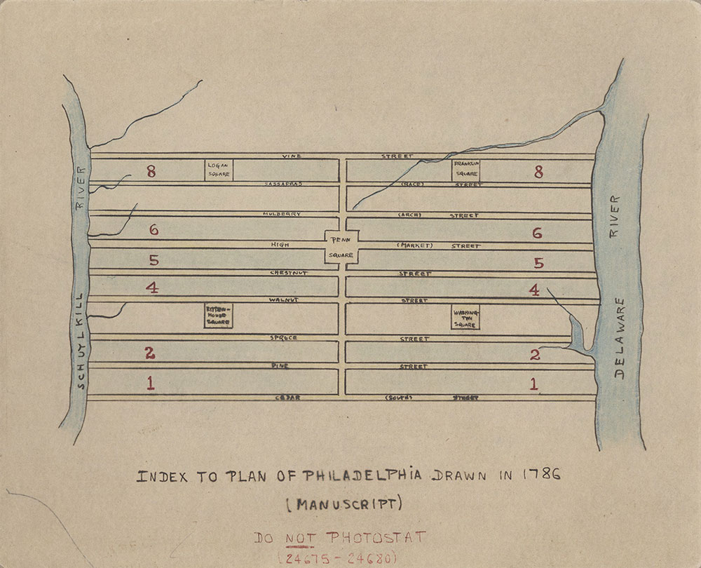 Plans With the Measures of All the Squares, Streets, Lanes and Alleys Between Cedar & Vine Streets and From Delaware to Schuylkill, 1786, Index