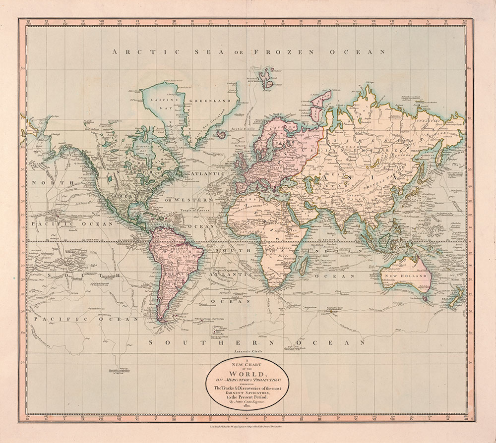 A New Chart of the World on Mercator's Projection: Exhibiting the Tracks & Discoveries of the most Eminent Navigators to the Present Period, 1801, Map