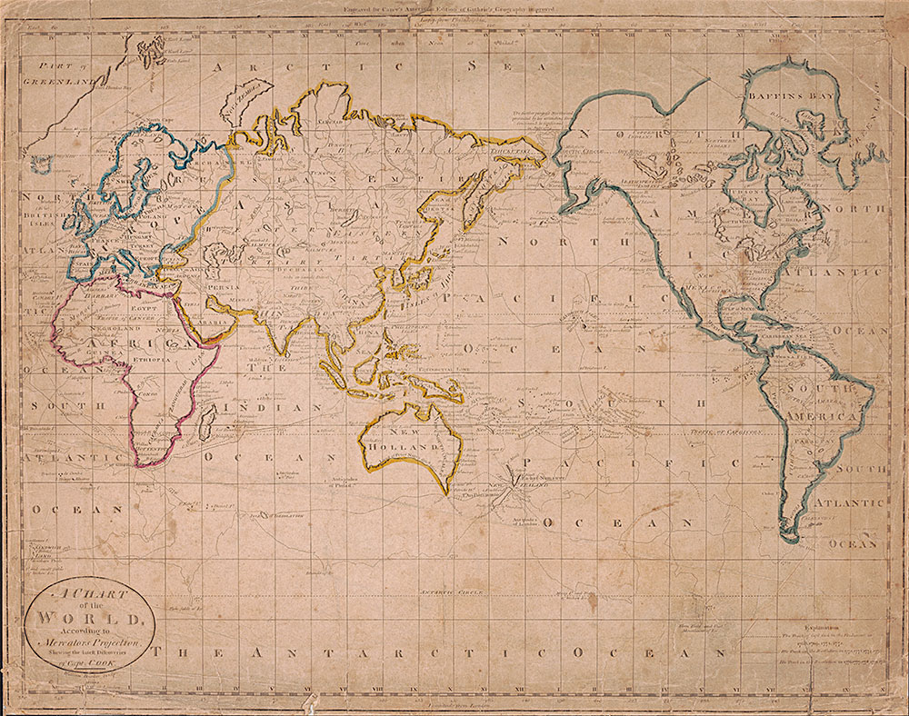 A Chart of the World According to Mercator's Projection, Shewing the latest Discoveries of Capt. Cook, 1796, Map