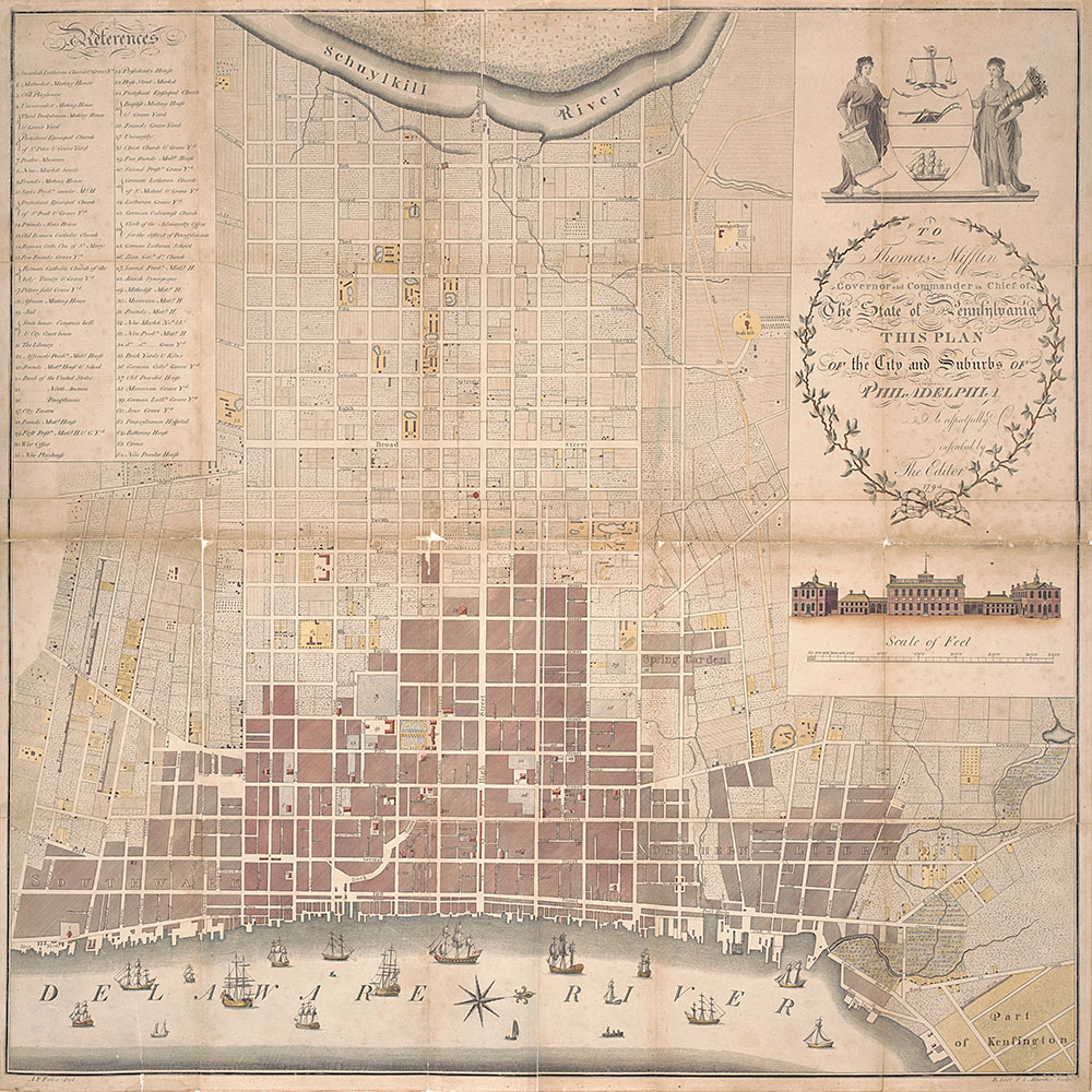 To Thomas Mifflin Governor and Commander in Chief of the State of Pennsylvania this Plan of the City and Suburbs of Philadelphia is Respectfully Inscribed by the Editor, 1794, Map