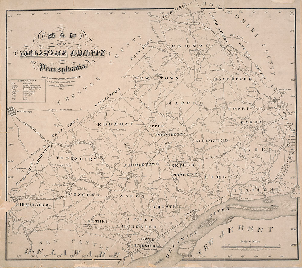 Map of Delaware County Pennsylvania, 1862, Map