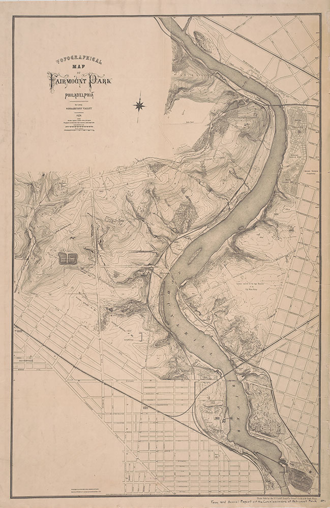 Topographical Map of Fairmount Park, Philadelphia: Excepting Wissahickon Valley, 1870, Map