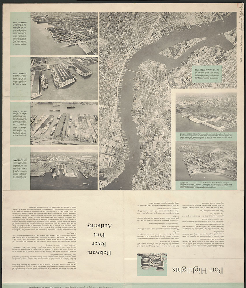 Aerial Views of the Delaware River Port Area Philadelphia, 1952, section of pamphlet