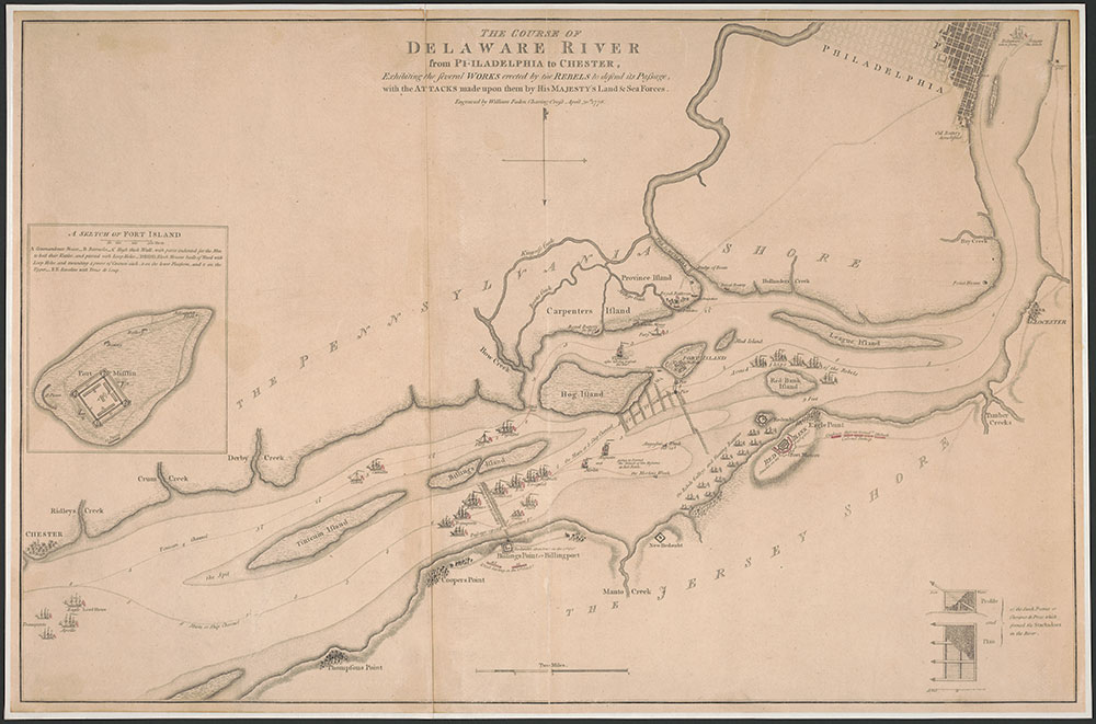 The Course of the Delaware River from Philadelphia to Chester, 1778, Map