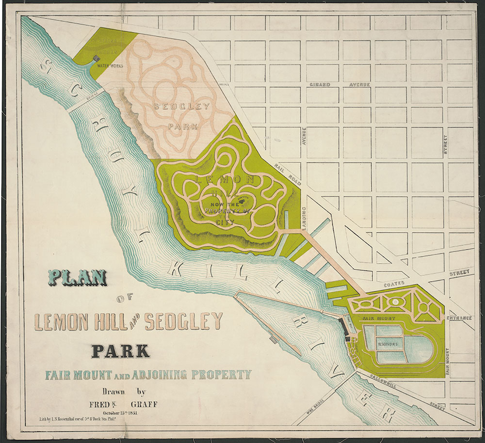 Plan of Lemon Hill and Sedgley Park, Fair Mount and Adjoining Property, ca. 1851, Map