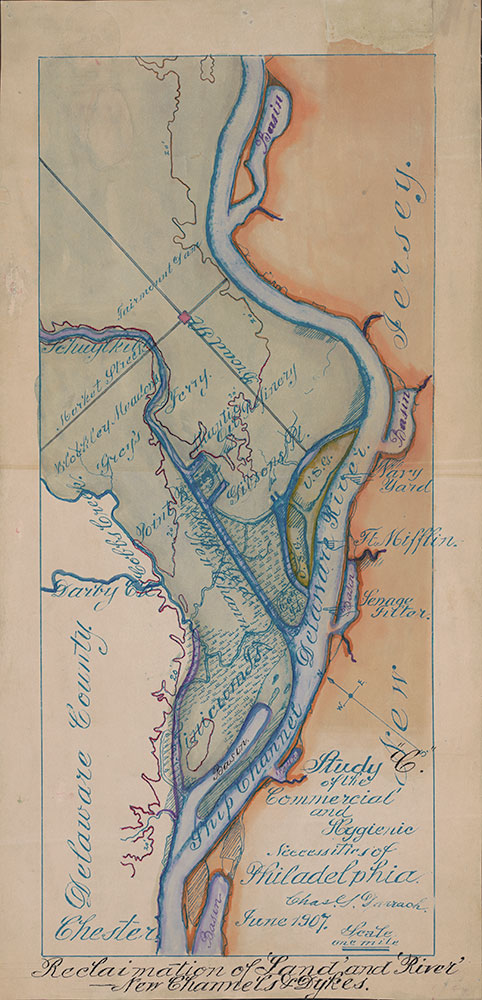 Study of the Commercial and Hygienic Necessities of Philadelphia; Reclaimation of 'Land' and 'River'--New Channels and Dykes, 1907, Map