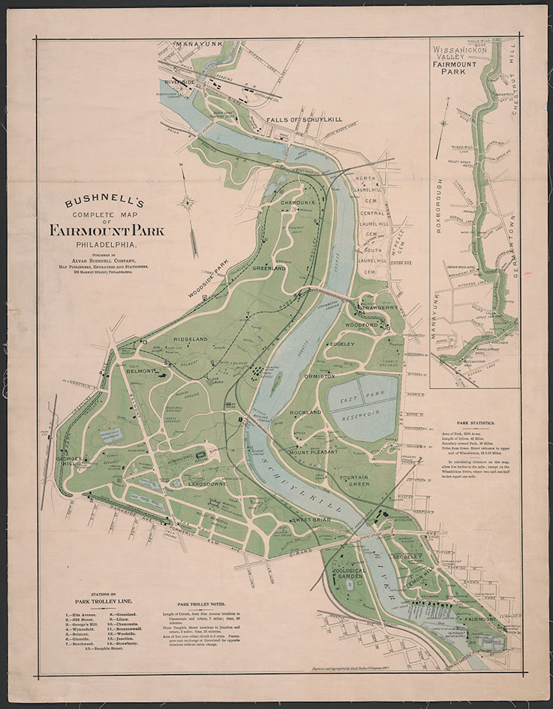Bushnell's Complete Map of Fairmount Park Philadelphia, 1897, Map