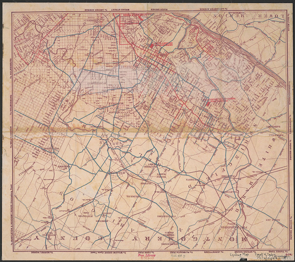 L.A.W. Local Cycling Map, 1897, Map [verso]