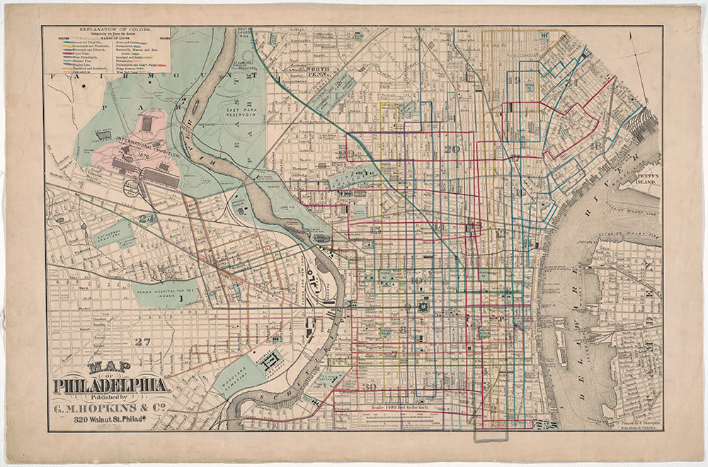 Map of Philadelphia [horse car routes], 1875, Map