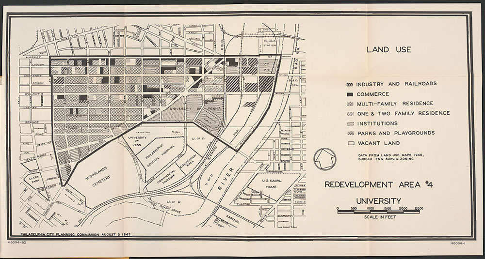 Land Use, Redevelopment Area #4, University [of Pennsylvania], 1947, Map