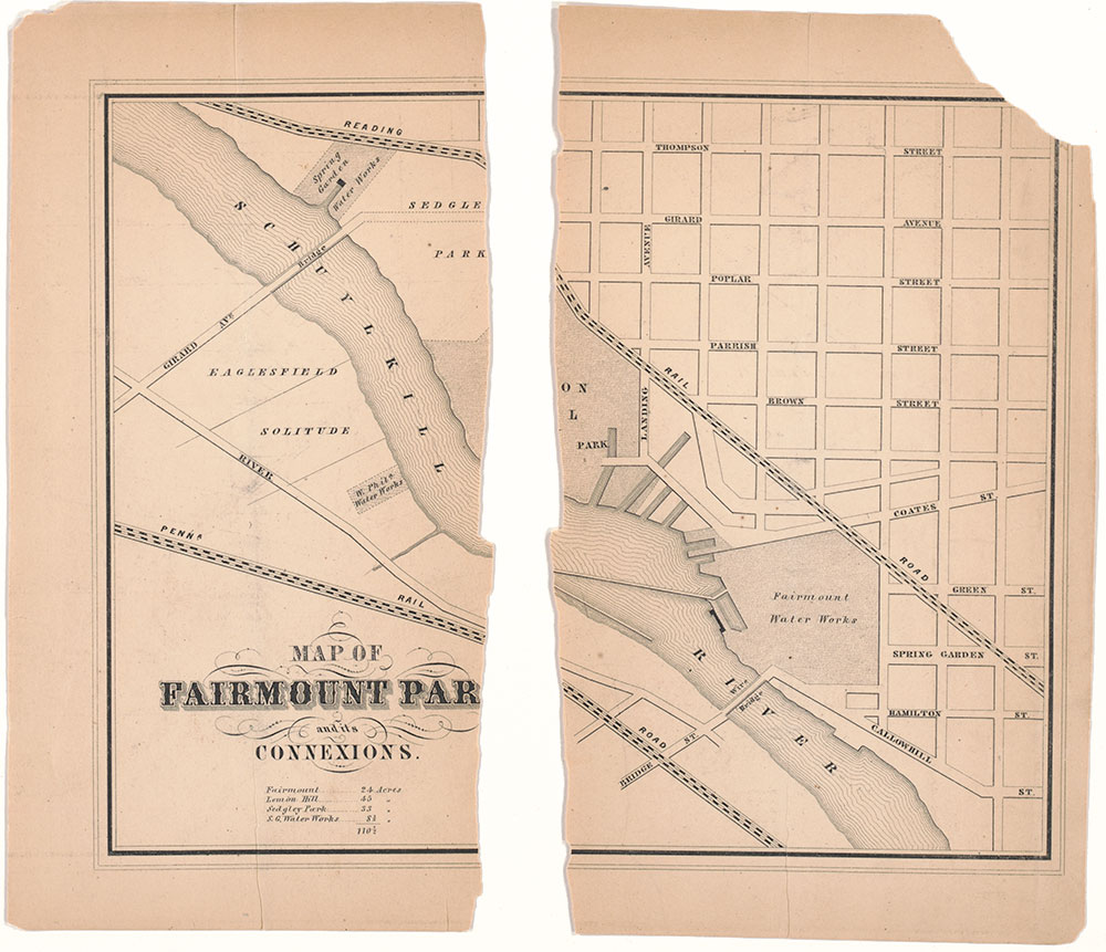 Map of Fairmount Park and its Connexions, ca. 1856, Map