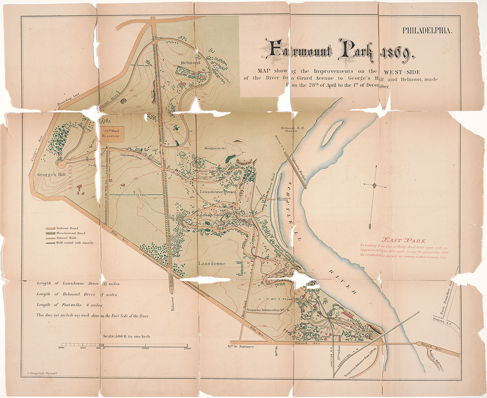 Fairmount Park 1869 : Map Showing the Improvements on the West-Side of the River from Girard Avenue to George's Hill and Belmont, made from the 28th of April to the 1st of December, 1869, Map