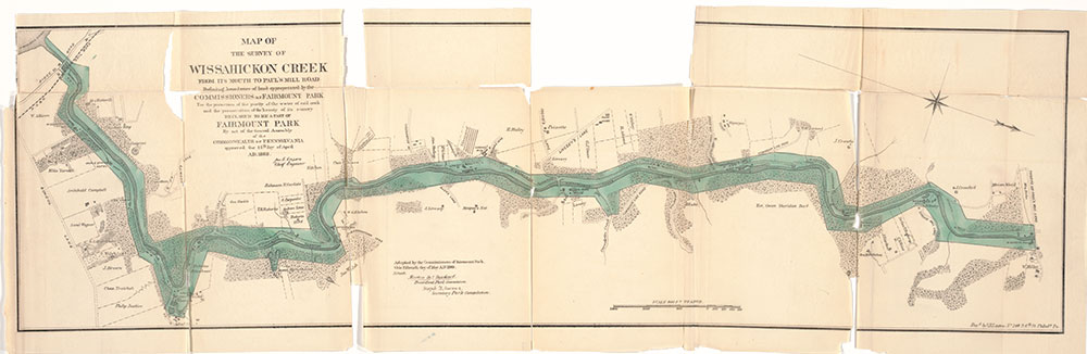 Map of the Survey of Wissahickon Creek from its Mouth to Paul's Mill Road Defining Boundaries of Land Appropriated by the Commissioners of Fairmount Park, ca. 1869, Map