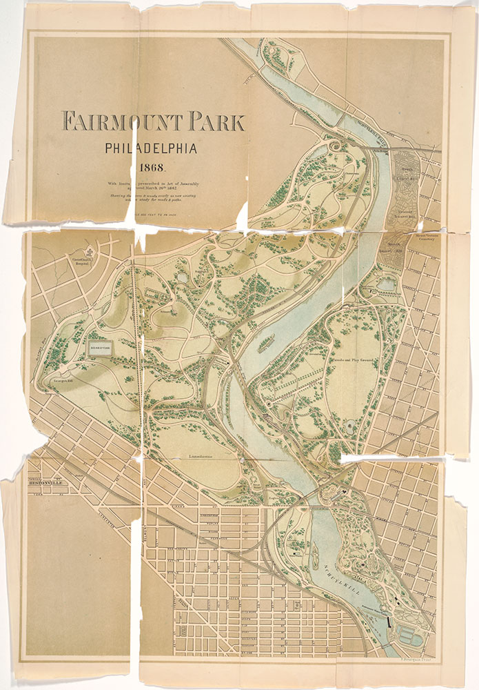 Fairmount Park, Philadelphia, 1868 : with Limits, as Prescribed in Act of Assembly, Approved March 26th, 1867 : Showing the Trees and Woods Nearly as Now Existing with a Study for Roads & Paths, 1868, Map