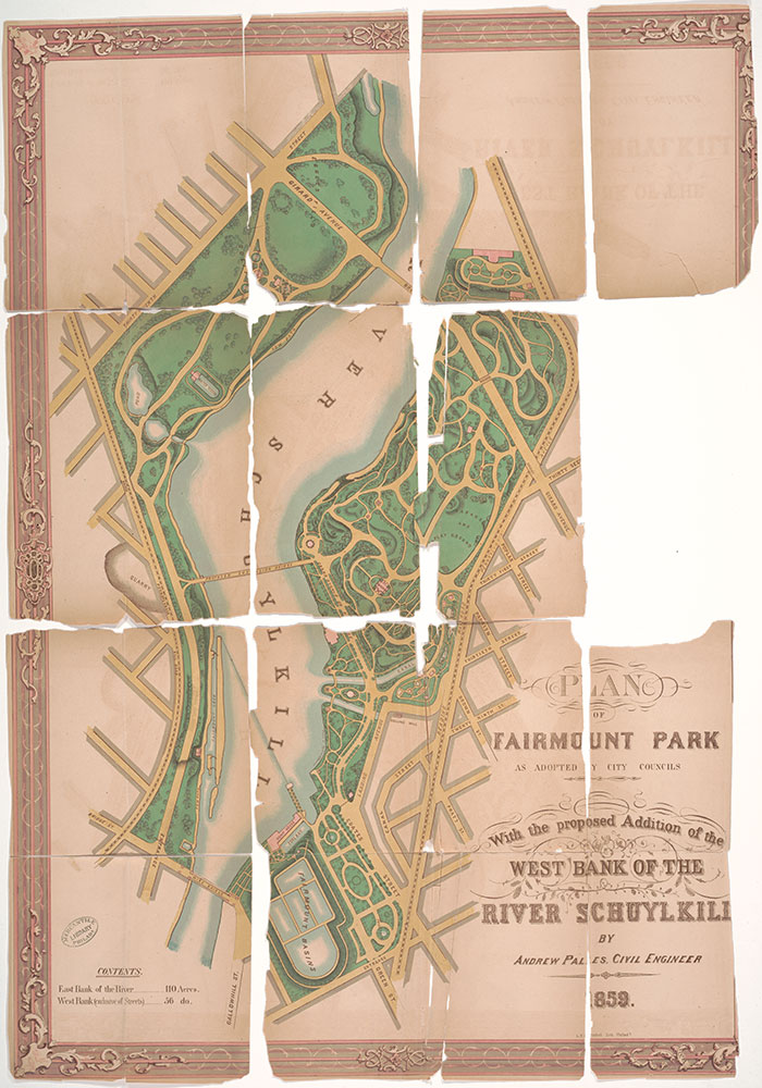 Plan of Fairmount Park as Adopted by City Councils with the Proposed Addition of the West Bank of the River Schuylkill, 1859, Map