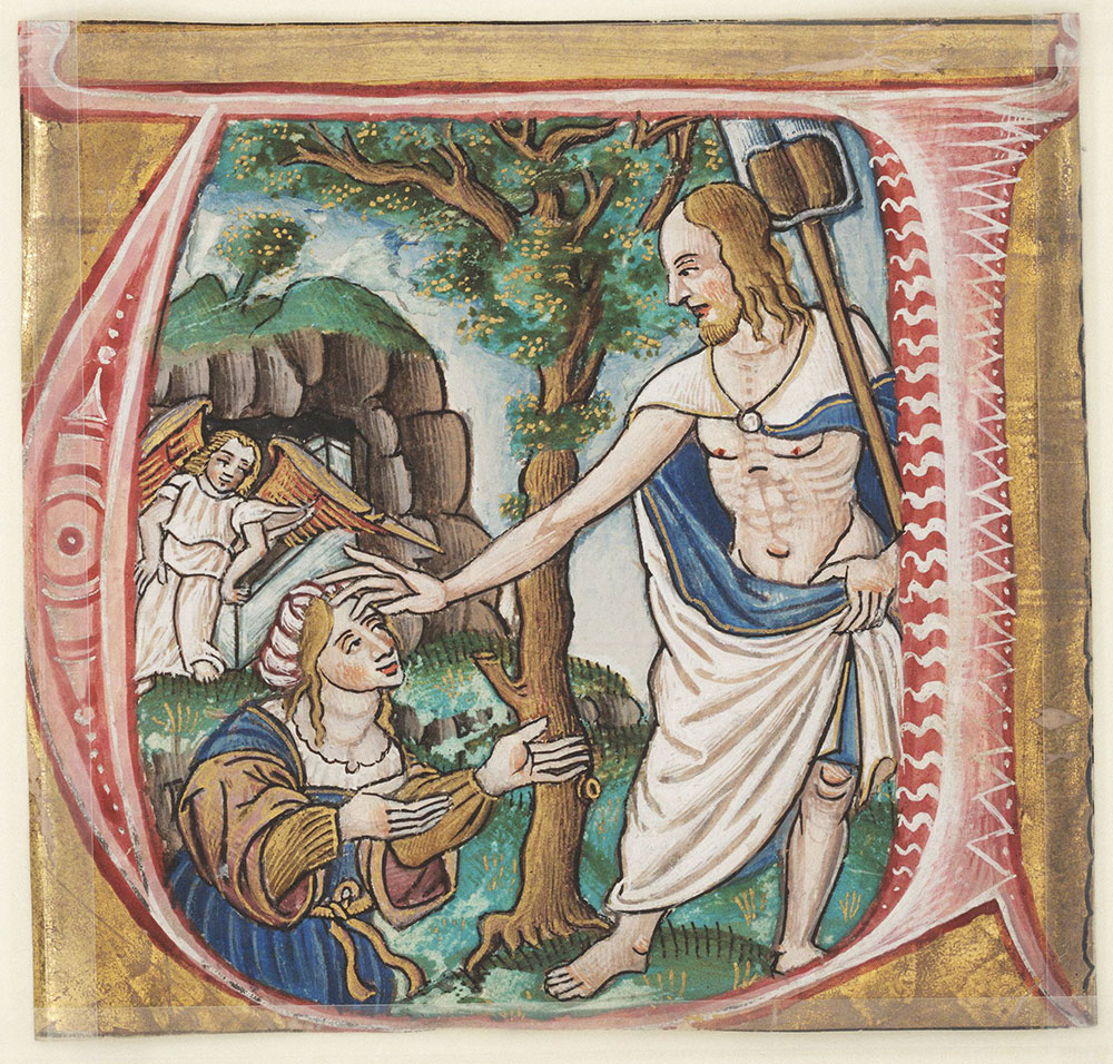 Historiated initial U depicting the Resurrected Christ blessing Mary Magdalene