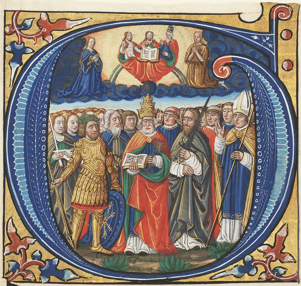 Historiated initial G depicting All Saints
