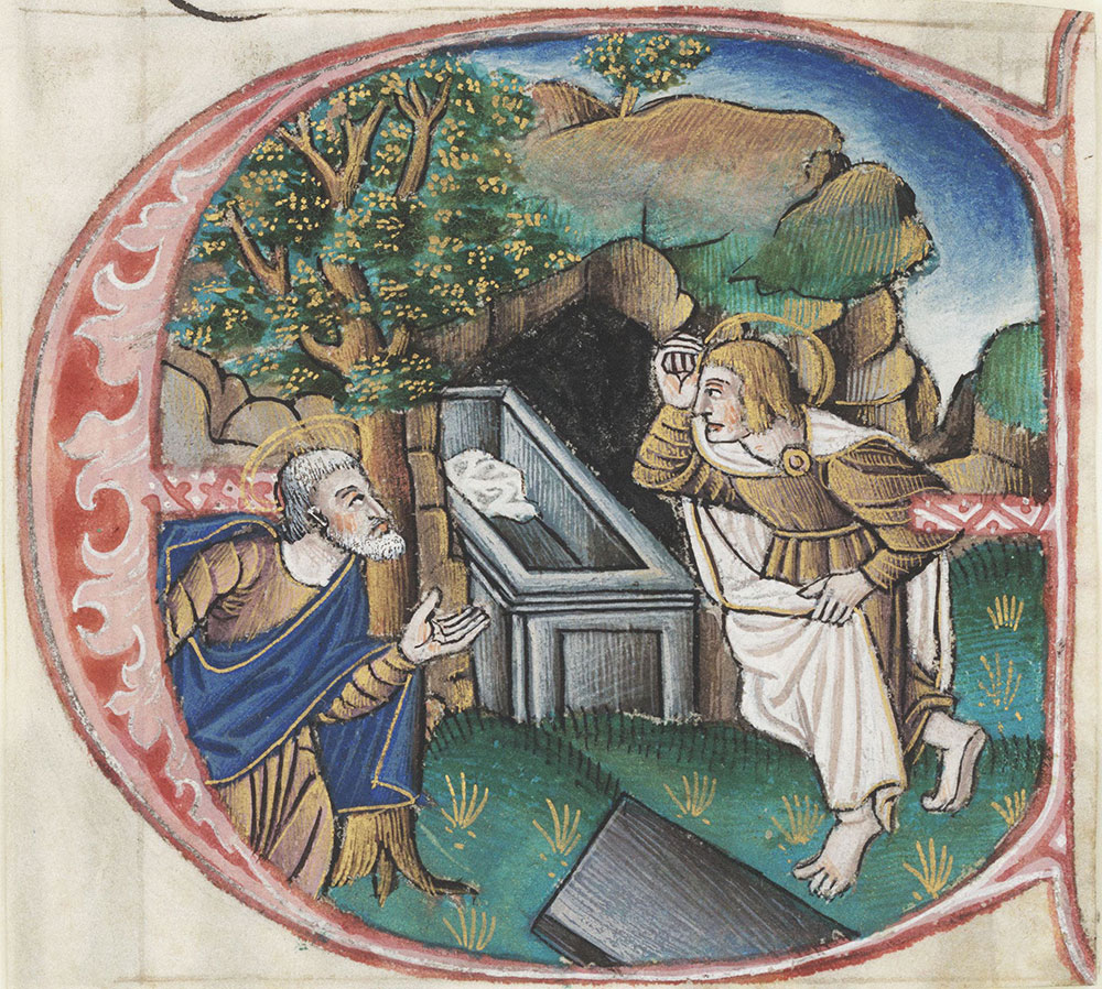 Historiated initial G depicting John and Peter discovering the empty tomb