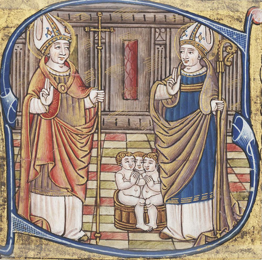 Historiated initial B depicted Saints Nicholas and Julian