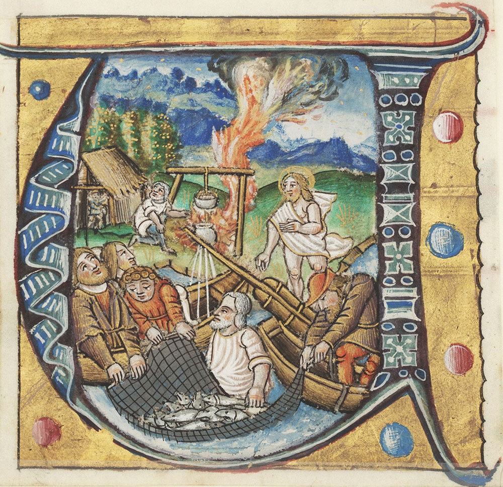 Historiated initial U depicting the second miraculous catch of fish