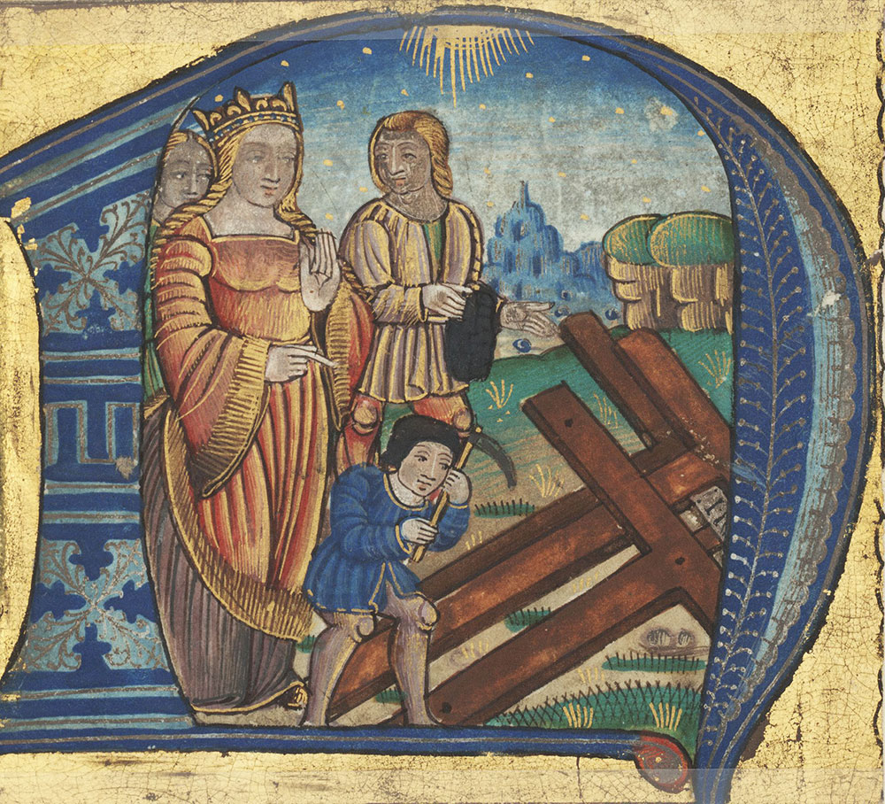 Historiated initial N depicting St. Helena finding the True Cross