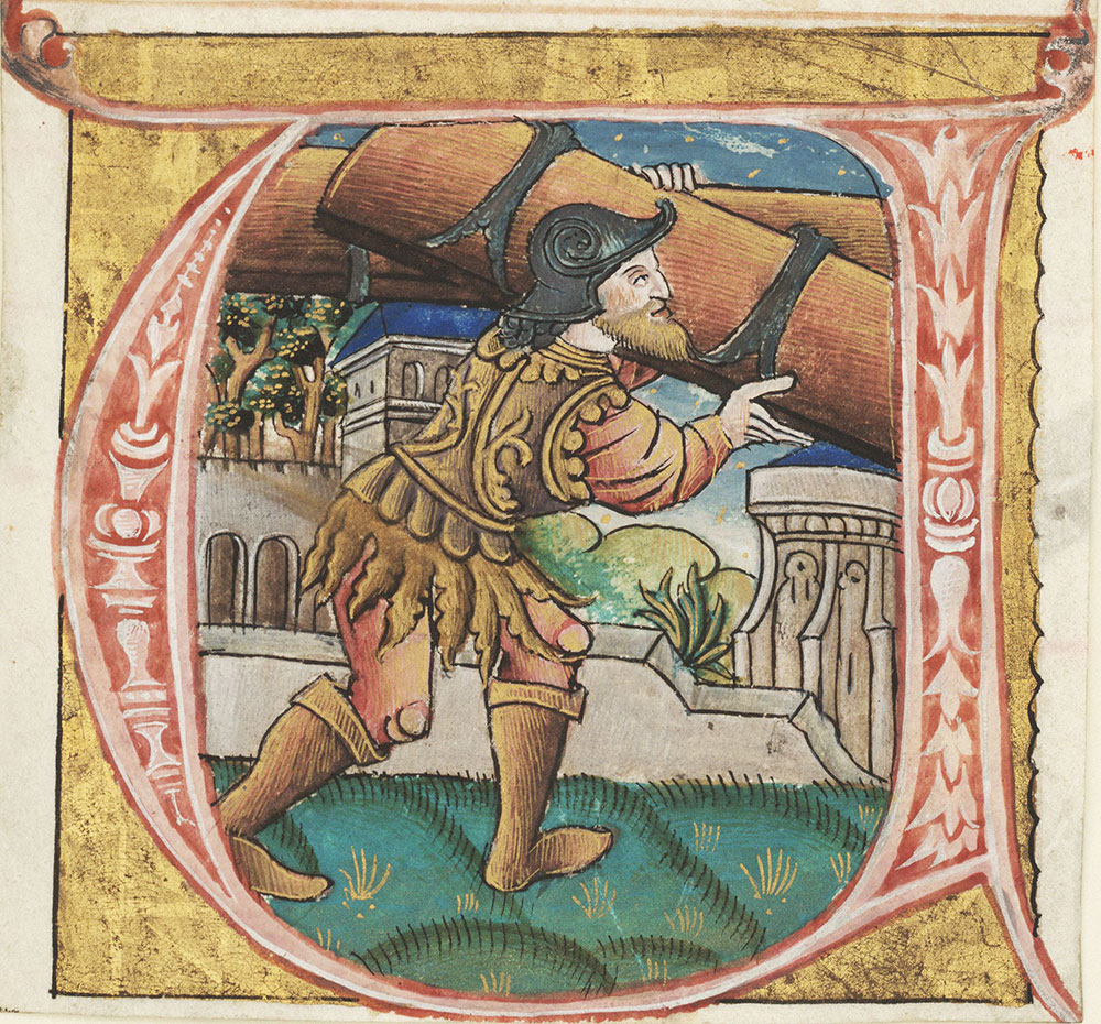 Historiated initial U depicting Samson removing the Gates of Gaza