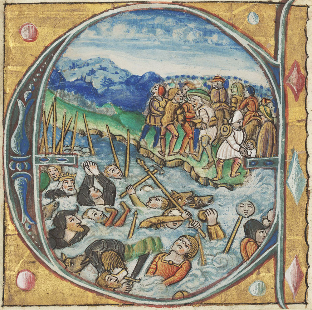 Historiated initial E depicting the destruction of the Egyptians in the Red Sea