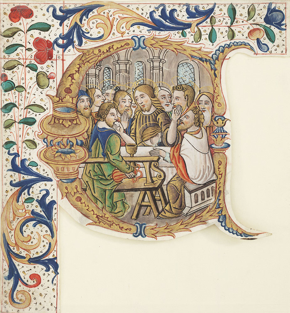 Historiated initial C depicting the Last Supper