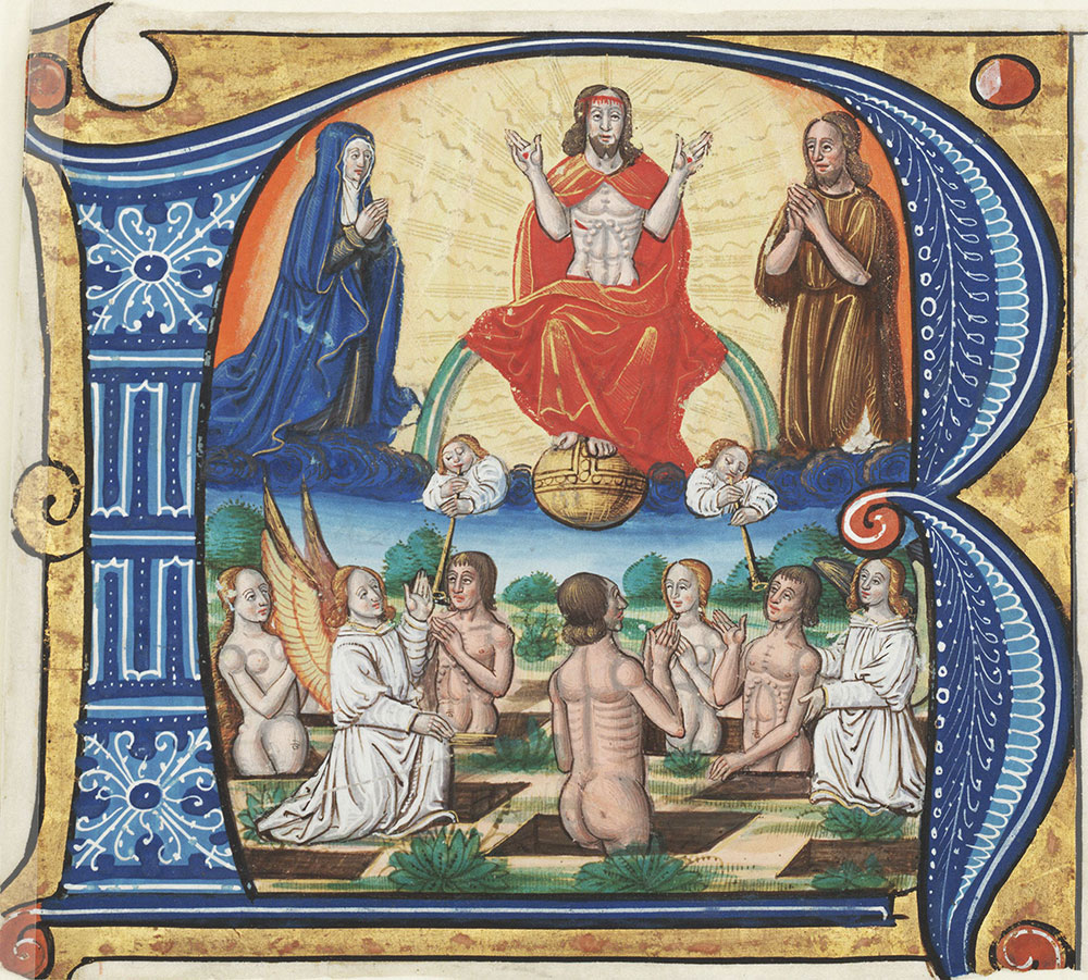 Historiated initial R depicting Christ sitting in judgment