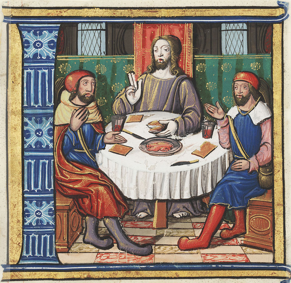 Historiated initial L depicting the supper at Emmaus