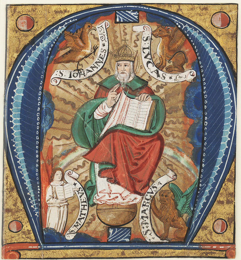 Historiated initial M depicting God the Father surrounded by the four Gospels