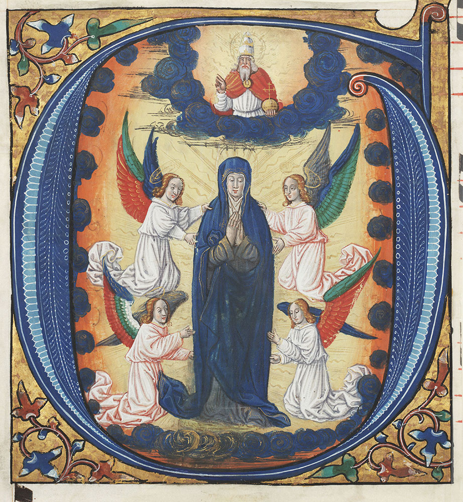 Historiated initial G depicting the Assumption