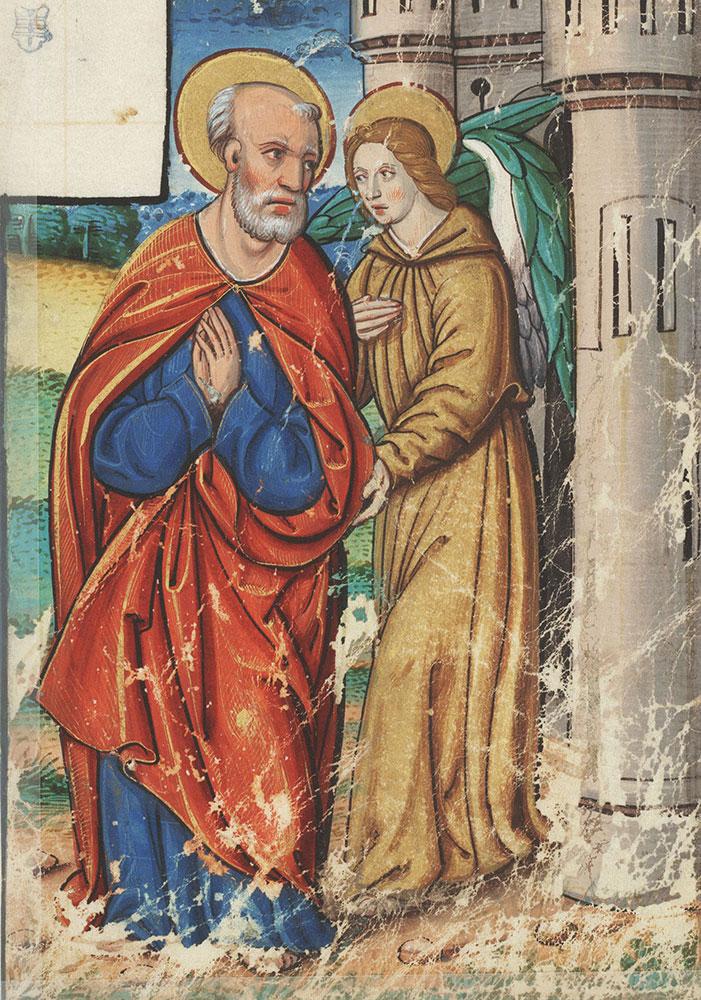 Miniature depicting the Archangel Gabriel and Joseph