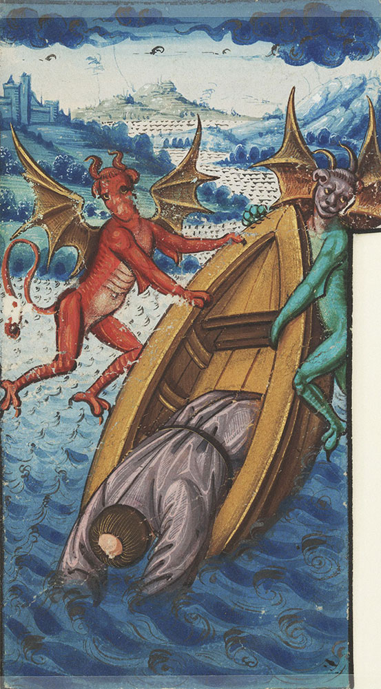 Miniature depicting Vincent of Saragossa being thrown into the water