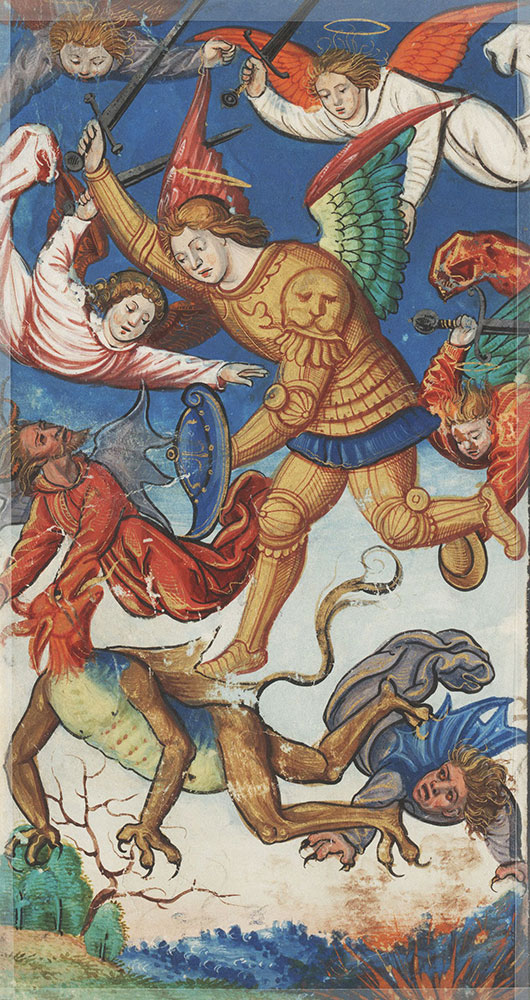 Miniature depicting Michael the Archangel fighting the dragon with his angels