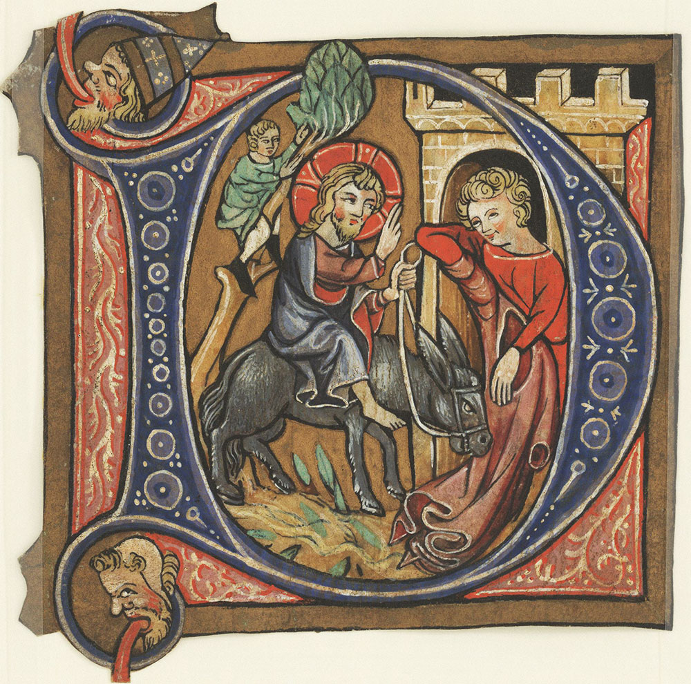 Historiated initial D depicting Christ's entry into Jerusalem