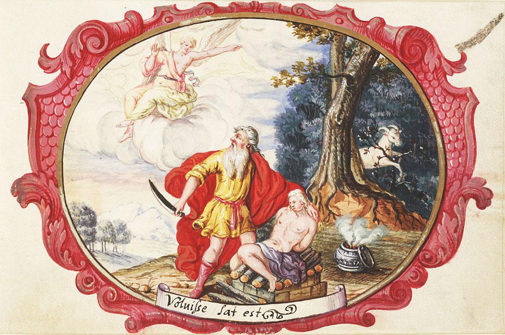 Miniature depicting the sacrifice of Isaac