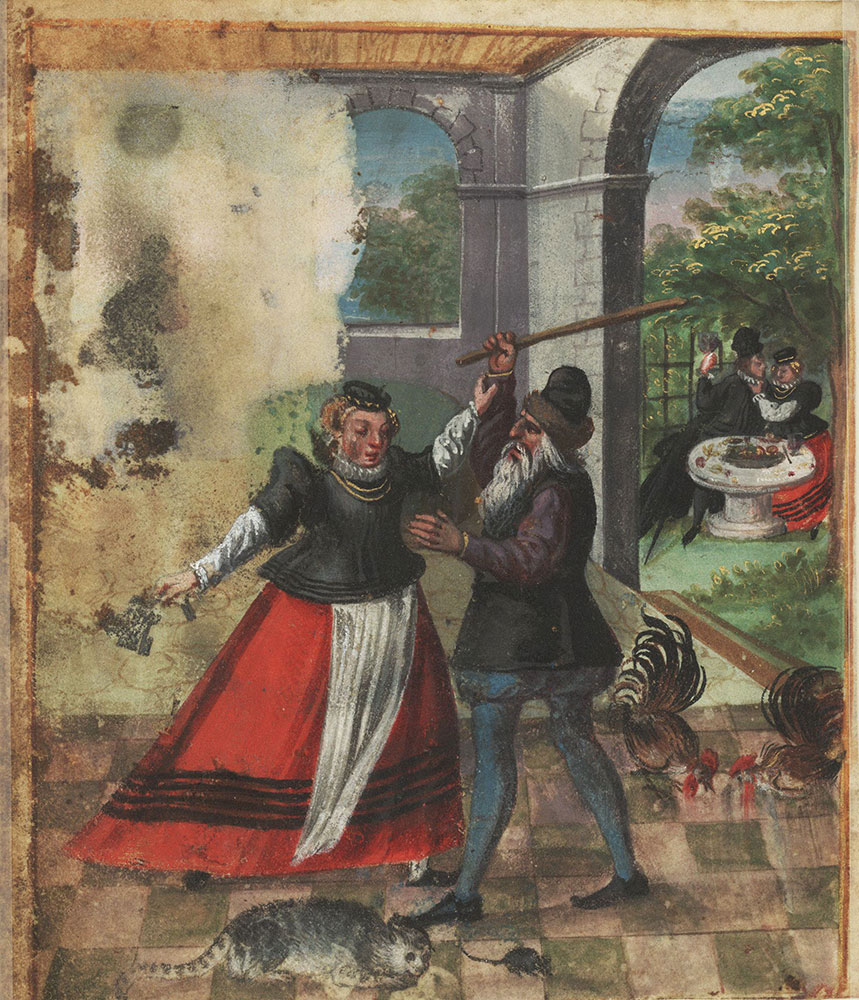Miniature of a dispute over the housekeeper's keys, with feasting couple in background