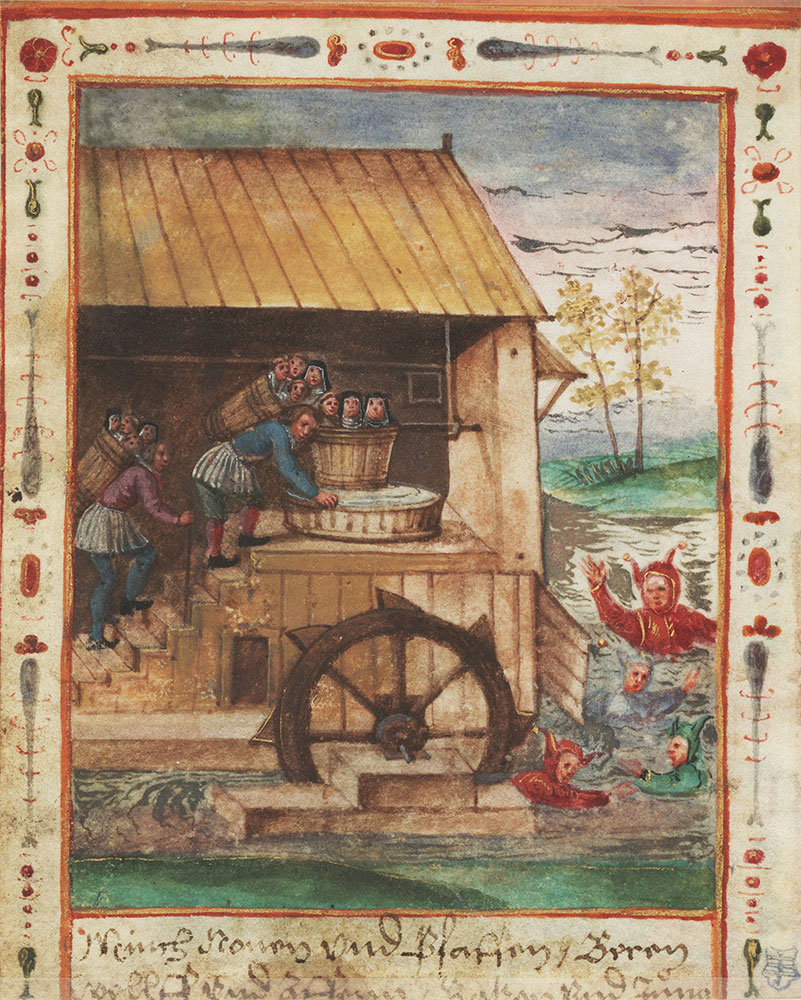 Miniature of the devil rejoicing over a brew made of monks, nuns, and priests
